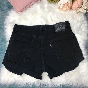Levi's Vintage Distressed Black Jean Shorts